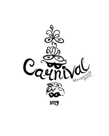Carnival hand draw logo with masks. Vector black illustration inscription and masks. Beautiful masks with feathers.