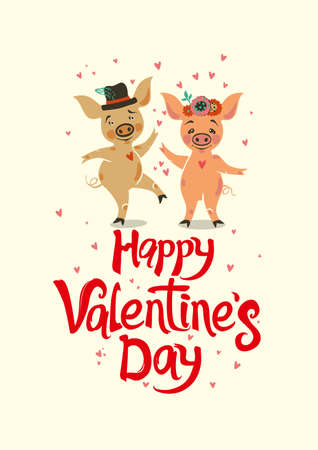 Happy Valentines Day card. He and she are in love. Valentine in the year 2019 pig. Vector illustration with cartoon piglets and handwritten inscription. Illustration