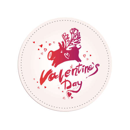 Happy Valentine's Day. Happy Valentines Day flyer Sketch illustration for Valentine's day. Vector graphics imitation of drawing with a rough brush.