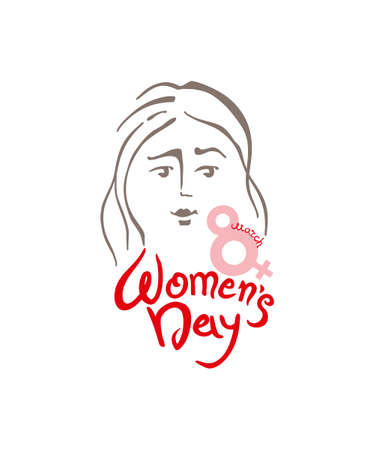 8 march and female face. Elegant greeting card International Womens Day. Flyer and other users. Illustration