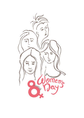 Womens Day linear vector pattern with lettering design and women faces. Happy womens day. Vector templates for card, poster and flyer. Elegant greeting card design for International Womens Day celebration.