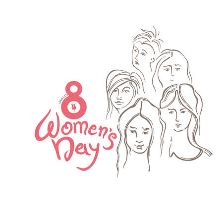 Womens Day linear modern background. Vector template with lettering design and women faces. Happy womens day. Vector templates for card, poster and flyer. Elegant greeting card design for International Womens Day celebration.