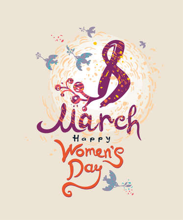 Happy Women's Day. 8 March. Women's day cute greeting card with spring birds and twigs. Modern vector hand drawn illustration.