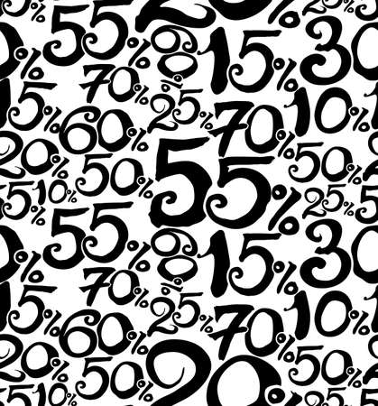 Black numbers and percent sign. Percent pattern. Template for advertising, sales, black friday.