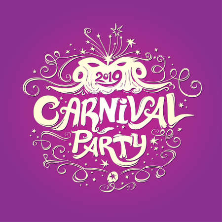 Carnival Party. Beautiful light illustration on a rich purple background. Vintage titles. Hand drawn vector template with Masquerade Mask. Ilustração