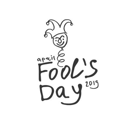 Fools Day. Cartoon style graphics Handwritten logo for fool's day. Vector template.