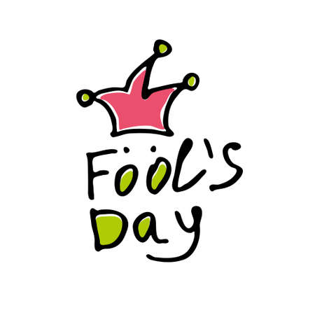 Fools Day. Handwritten simple logo for fool's day. Vector template.
