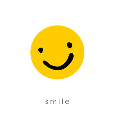 Smile. Freehand drawn face smile on a yellow circle. Vector icon. 일러스트
