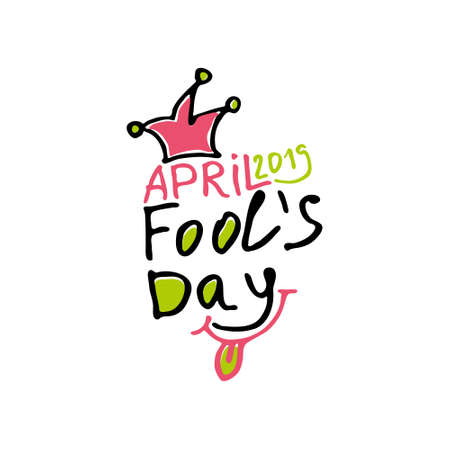 April Fools Day 2019. Cartoon style. Handwritten logo for fool's day. Vector template.