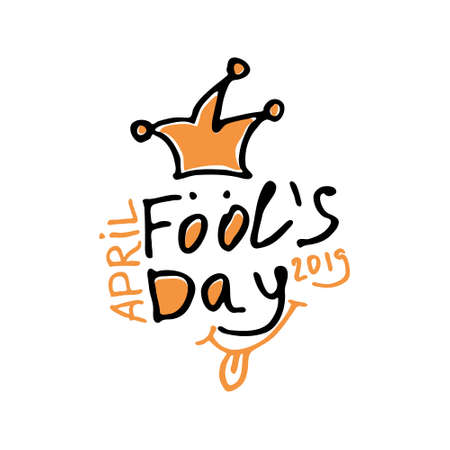 April Fools Day 2019. Cartoon style. Handwritten logo for fool's day. Vector template. Illusztráció