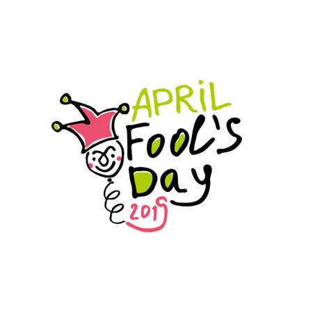 April Fools Day. Cartoon style graphics Handwritten logo for fools day. Vector template.