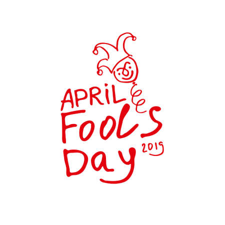 April Fools Day. Cartoon style graphics a jester on a spring. Handwritten logo for fools day. Vector template. Иллюстрация