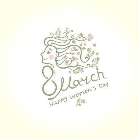 Hairline and lettering design. 8 March greeting card. Happy Women's Day. Elegant vector template for spring design. Vetores