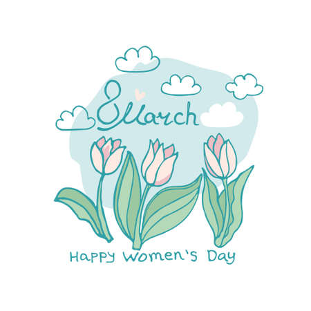 8 March card with tulips and clouds. Happy Womens Day. Elegant spring design blooming tulips against the blue sky.
