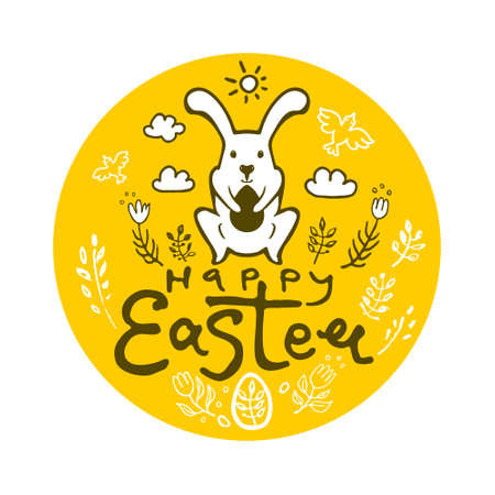 Happy Easter. Bunny on white background. Rabbit holds a souvenir Easter egg. Vector template.