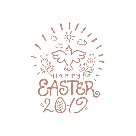 Happy Easter 2019. Vector template with lettering and Spring bird. Line art graphics pattern.
