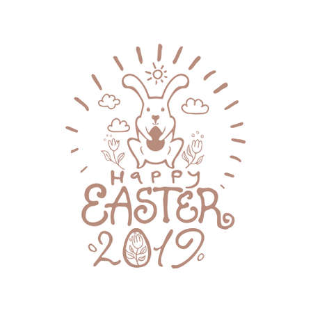 Happy Easter 2019. Vector illustration Easter bunny, inscription and easter egg.