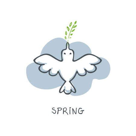 Silhouette of a bird on white background. Spring symbol.