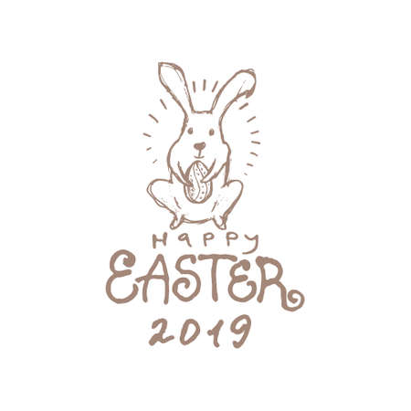 Happy Easter 2019. Vector illustration imitating pencil drawing. Easter bunny, inscription and easter egg.
