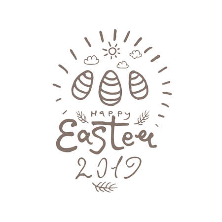 Happy Easter 2019. Vector template with eggs and easter decor eggs. Line art graphics pattern.