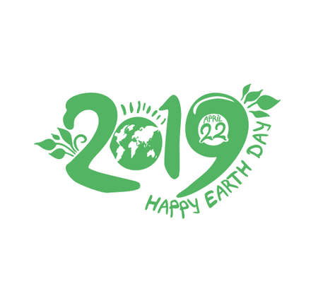 Happy Earth Day. 22 April. 2019. Planet and handwritten 2019 template. Vector illustration.