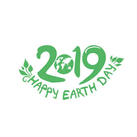 Happy Earth Day. 22 April. 2019. Planet and handwritten 2019 green template. Vector illustration.