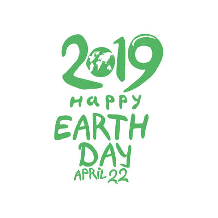 Planet and handwritten 2019 green template. Happy Earth Day. April 22. Vector illustration. 일러스트