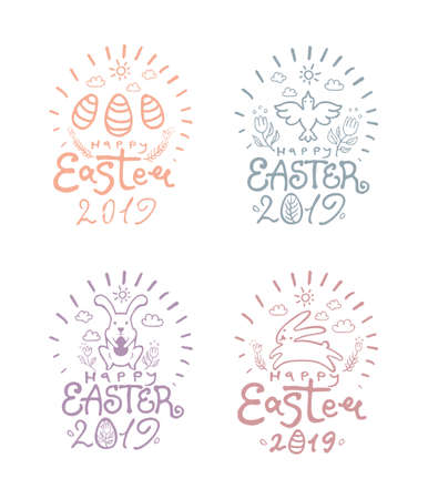 Happy Easter 2019. Easter bunnies, art lettering and floral decor.