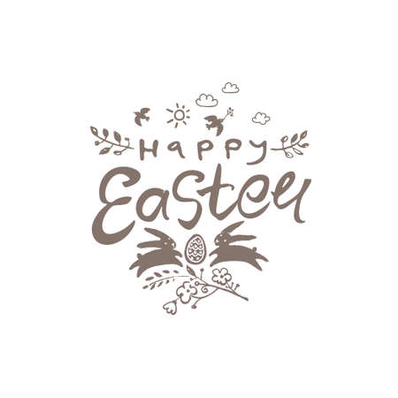 Happy Easter. Easter bunnies, art lettering and floral decor.