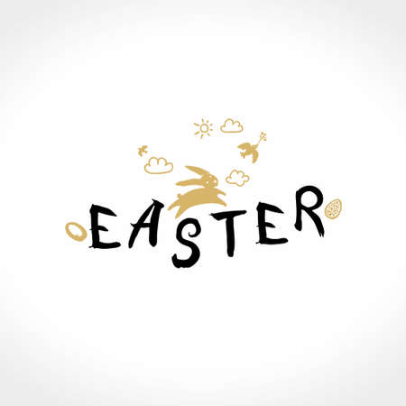 Easter logo. Vector Easter bunny and handwritten inscription. Иллюстрация