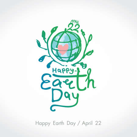 Happy Earth Day. Green handwritten logo. April 22. Vector branches and an inscription. 일러스트