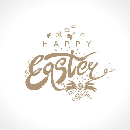Happy Easter. Vector illustration easter logo dry brush painting. Easter bunny, inscription and easter egg. Ilustrace