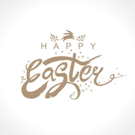 Happy Easter. Vector illustration easter logo dry brush painting. Easter bunny, inscription and easter egg.