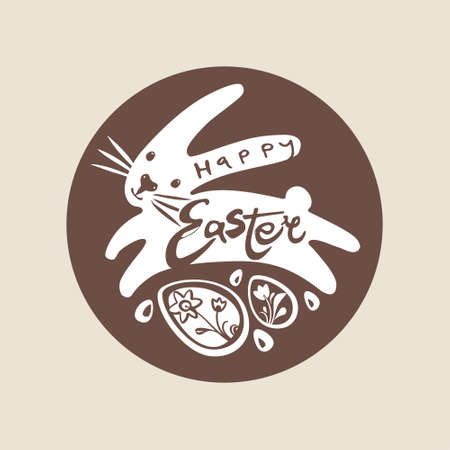 Happy Easter. Bunny and easter eggs. Modern calligraphy Easter logo.