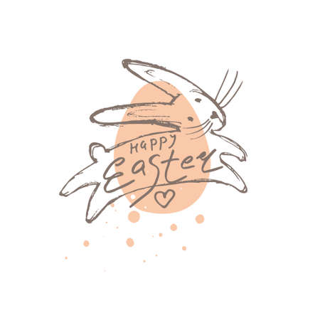 Happy Easter funny delicate illustration. Easter bunny on the background