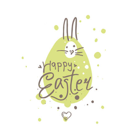 Happy Easter funny illustration. Easter bunny on the green blot background. Vector illustration imitating felt pen drawing.
