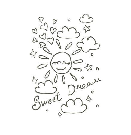 Sweet Dream. Vector illustration of stars, stars and sleeping sun. Careless graphics vector logo. Line art contour illustration of dreamers. Illusztráció
