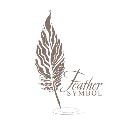 Feather Symbol pattern of bird feather sharpened for writing. Vectores