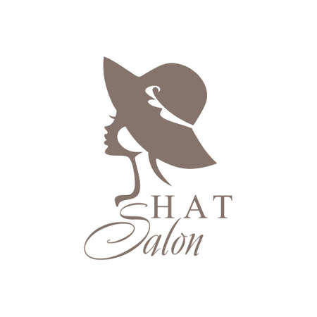 Girl in a little hat. Fashionable Hat Salon. Ilustrace