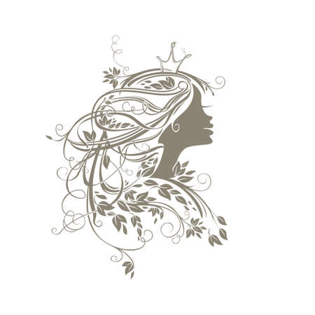 Princess Hairstyle. Girl with leafy hair in princess crown. Vector silhouette illustration.