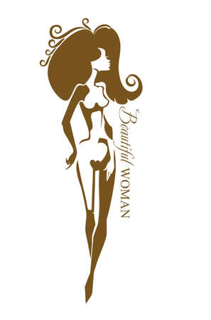 Beautiful woman. female nude beauty silhouette. Can be used for a beauty salon, aesthetic medicine, other. Illustration
