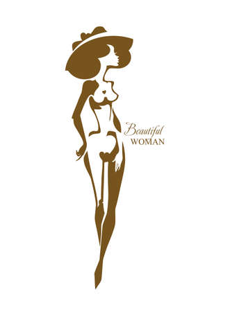 Beautiful woman. female nude beauty in a hat silhouette. Can be used for a beauty salon, aesthetic medicine, other.