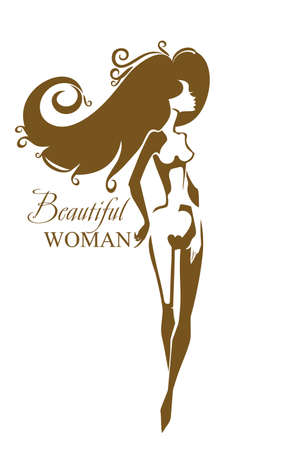 Beautiful woman. female nude beauty silhouette. Can be used for a beauty salon, aesthetic medicine, other. Ilustrace