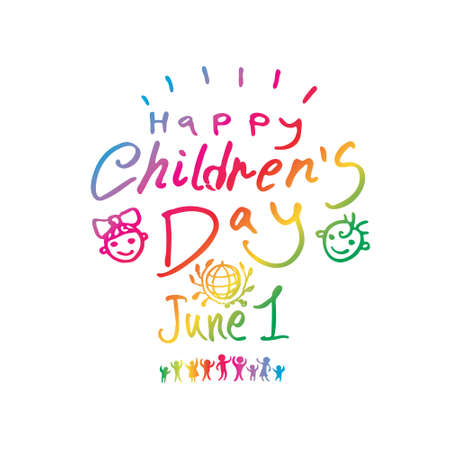 Happy Children's Day. Bright multicolored hand logo line. International Children's Day. Vector inscription and funny kids.