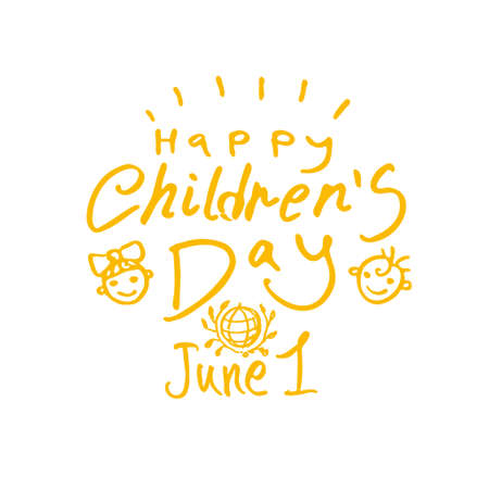 Happy Children's Day. Yellow drawn by hand line logo. International Children's Day. Vector inscription and funny kids.