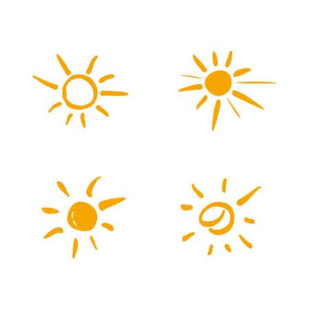 Four painted suns. Vector solar symbols set.