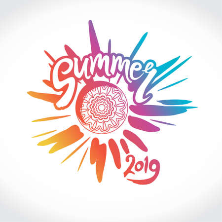 Vector logo Summer 2019. Bright rays of the sun, an inscription. Stylish seasonal pattern.