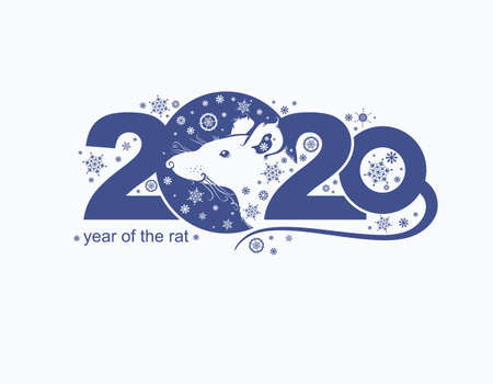 Year of the Rat 2020. Vector template New Years design on the Chinese calendar.