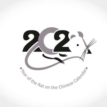 Year of the Rat 2020 on the Chinese Calendar. New Year greeting template. Calligraphy and mouse. Vector illustration.