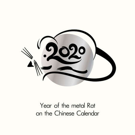 Year of the metal Rat 2020 on the Chinese Calendar. New Year greeting template. Vector illustration. Illusztráció